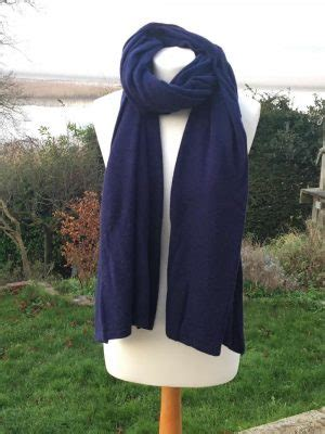 navy blue knitted scarf black white chevron weave scarf