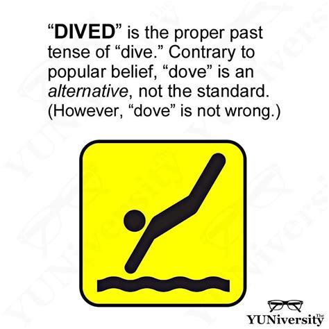 dive dove dived the past tense of dive can be either dived or dove