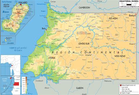 guinea ecuatorial map physical map of equatorial guinea ezilon maps
