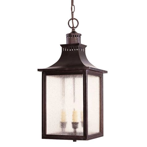 porch hangers illumine 3 light outdoor hanging english bronze lantern with pale cream seeded glass cli