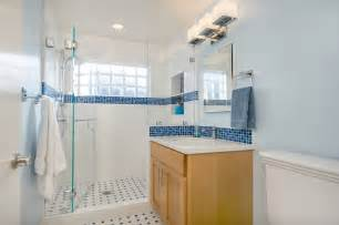 Home Depot Bathroom Sconces Blue And White Bathroom With Glass Block Traditional