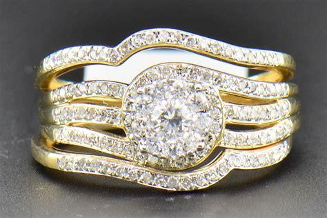 diamond bridal set 14k yellow gold engagement ring wedding band 3 piece 0 56 ct ebay
