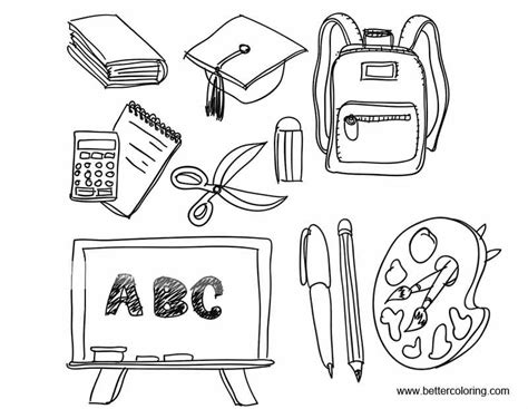 coloring supplies black and white school supplies coloring pages free