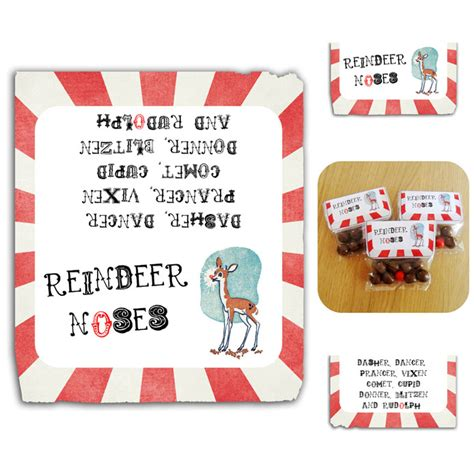 printable reindeer noses labels printable vintage inspired christmas reindeer noses label