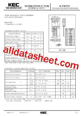 transistor b772 datasheet b772 datasheet pdf kec korea electronics