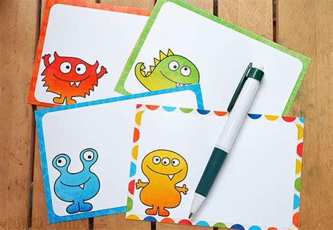 printable monster notecards free monster printables for my scaredy boy note cards