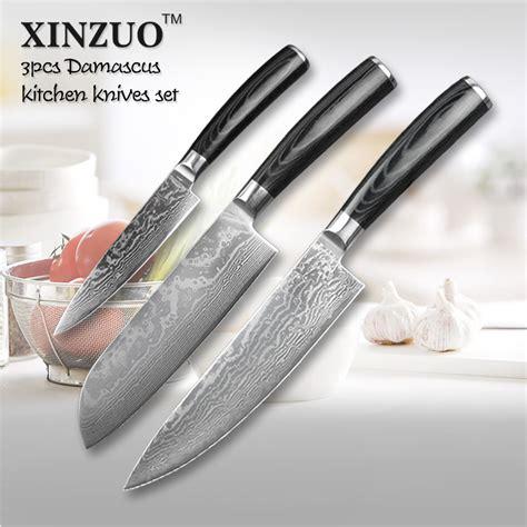 Japanese Damascus Kitchen Knife Set 3 Pcs Kitchen Knives Set Japanese Vg10 Damascus Kitchen