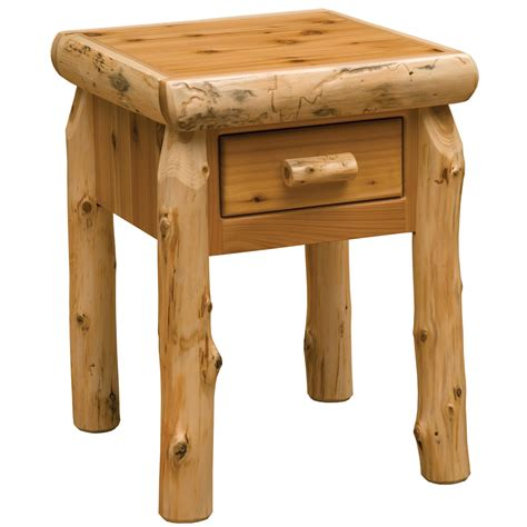 Log Nightstand cedar log one drawer nightstand