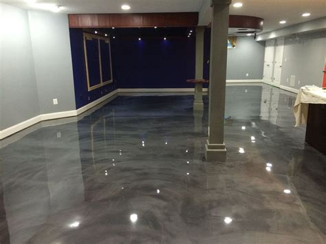 Designer epoxy basement floor in Manassas, VA. #reflector