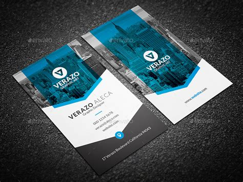 clean modern vertical business card template  verazo