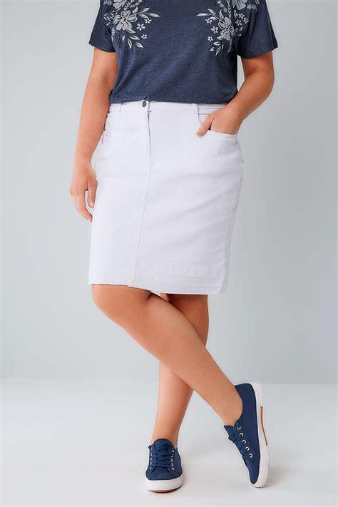 white 5 pocket denim skirt with hem plus size 16 to 30