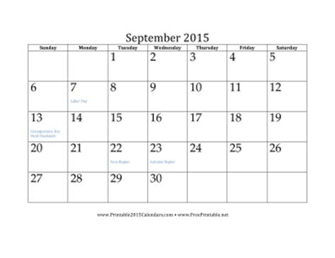 printable monthly calendar for september 2015 image gallery sept 2015 calendar