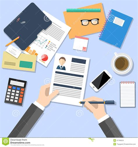 Top Mba In Human Resources by Hr Manager Working With Cv Concept Stock Vector