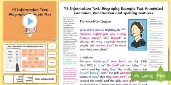 biography wagoll ks2 y2 information texts biography model exle text exle