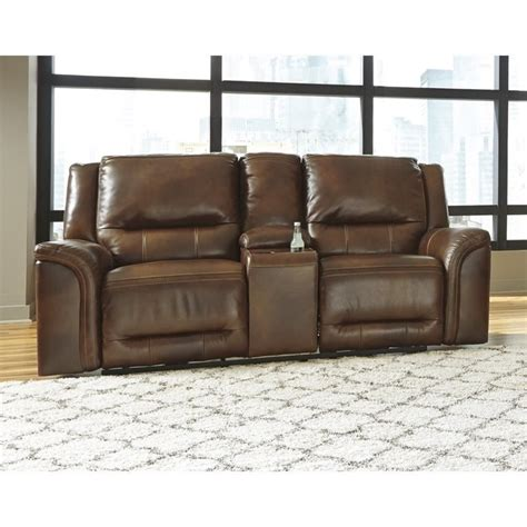 ashley reclining loveseat with console ashley jayron leather power reclining console loveseat in