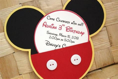 Mickey Mouse Handmade Invitations - handmade mickey mouse invitations for birthdays baby