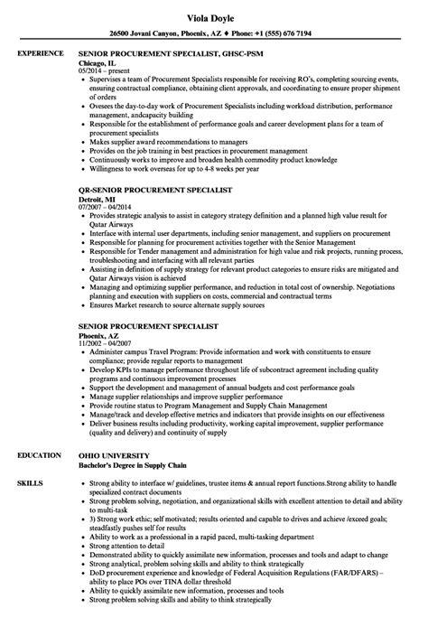 Procurement Specialist Resume by Senior Procurement Specialist Resume Sles Velvet
