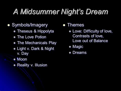 love themes in a midsummer night s dream a midsummer night s dream ppt video online download