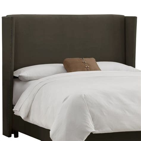 skyline furniture wingback panel headboard in pewter