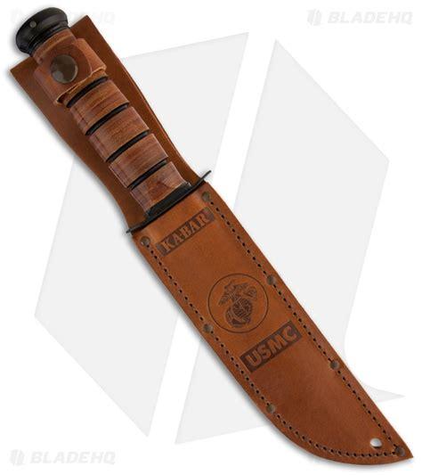 Ka Bar Usmc 7 Fixed Blade Fighting Knife W Brown Leather Sheath 12 ka bar usmc size fixed blade knife 7 quot black serr 02 1218 blade hq