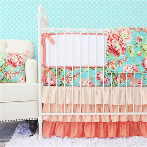girly crib bedding girly baby bedding pink aqua coral paisley caden lane