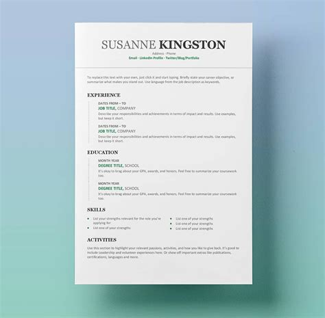 Resume Word Templates by Resume Templates For Word Free 15 Exles For