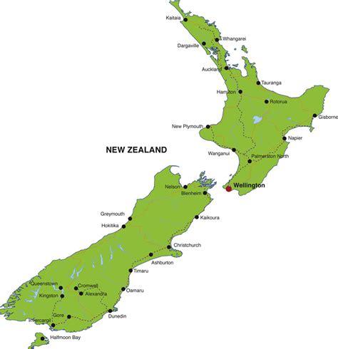 map of new zealand neuseeland kapital karte