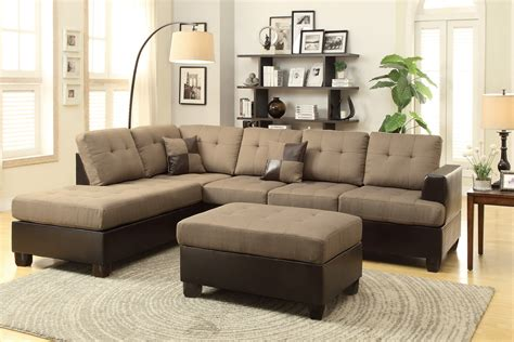 sectional sofa ottoman poundex moss f7603 brown leather sectional sofa and