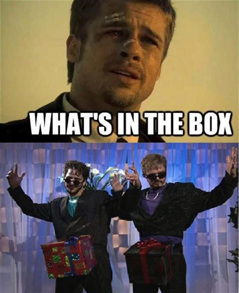 Whats In The Box Meme - brad pitt what s in the box dump a day