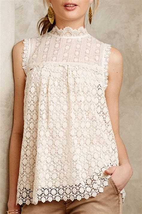 Lace Blouse Navy Pastel solid color lace sleeveless blouse white blouses zaful