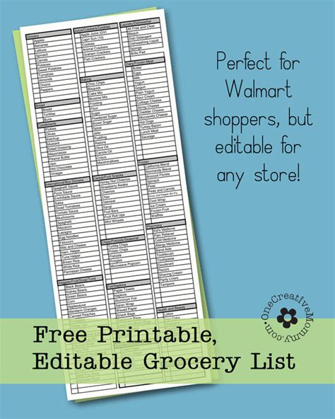 free printable grocery list walmart freebie friday printable grocery list onecreativemommy com