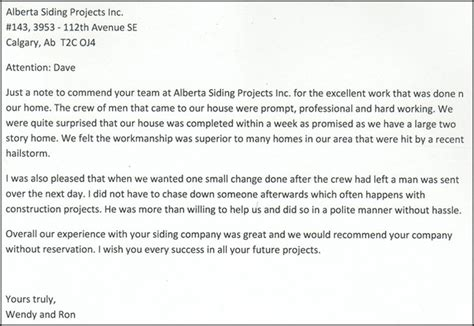 Real Estate Referral Letter by And Wendy Referral Alberta Siding Projects