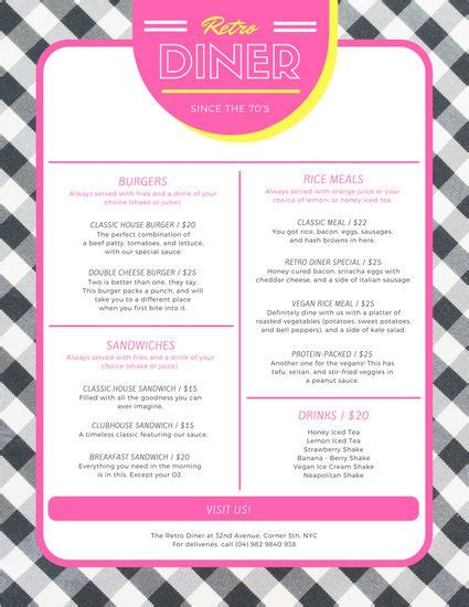 50s diner menu template customize 64 diner menu templates canva