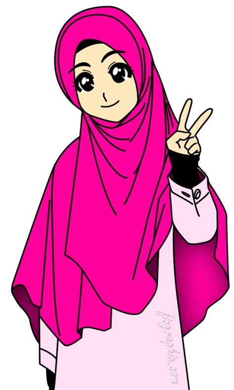 with ika gambar kartun muslimah