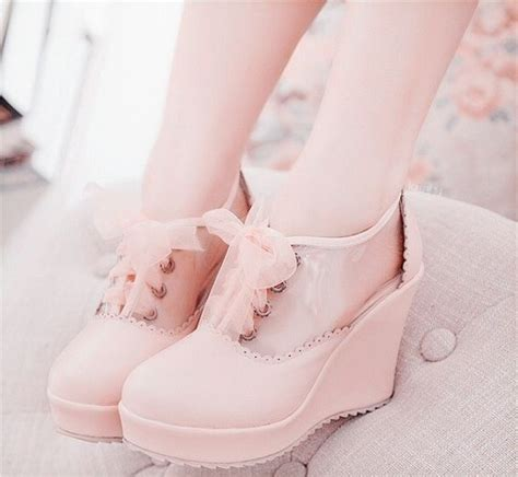 Kawai 15 Wos Blue Pink shoes heels ankle boots wedges ribbon lace up bows