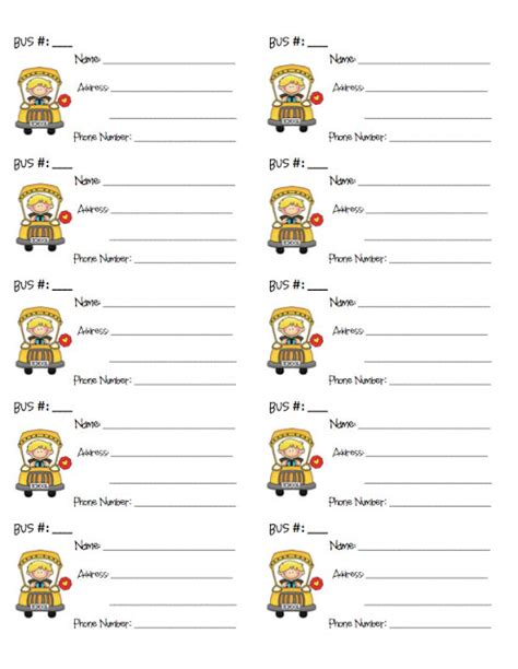 printable bus tags kindergarten pixie chicks teaching trends tuesday