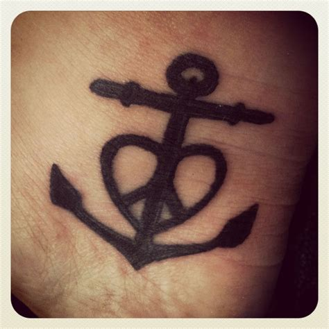 cross heart and anchor tattoo anchor cross and peace sign all combined
