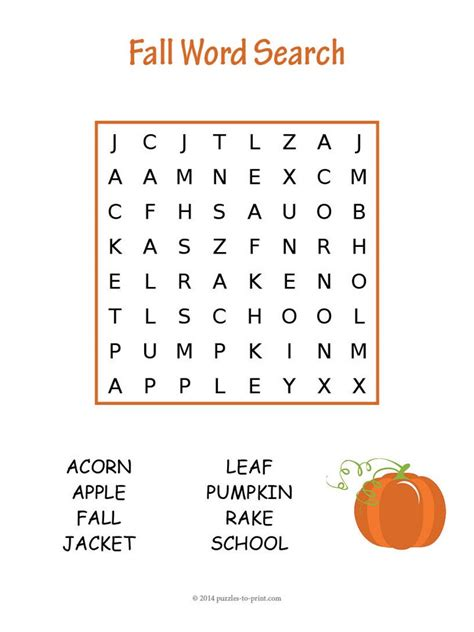 Search For 18 18 Fall Word Search Puzzles Baby