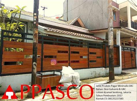 Jual Pagar Kayu Taman by Pagar Minimalis Grc Motif Kayu Di Karamat Sentiong Jakarta