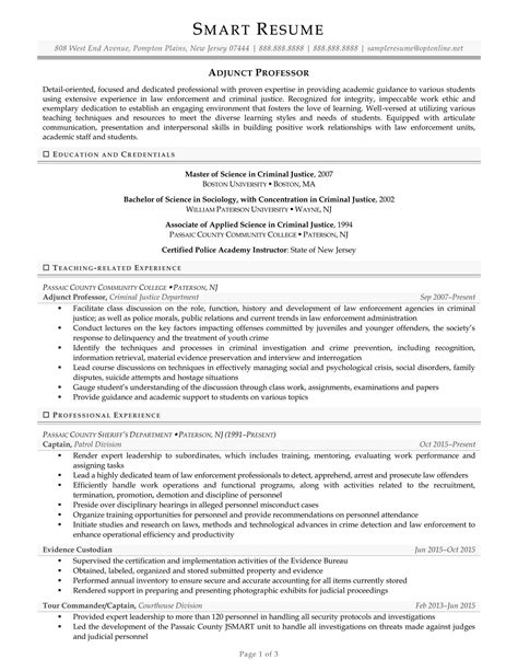 Community College Professor Resume Sle by 21583 Resume Exles For College Resume For College