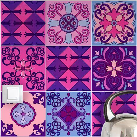 Sol Carreau De Ciment 818 by 9 Stickers Carrelages Azulejos Violet Byzantine Et