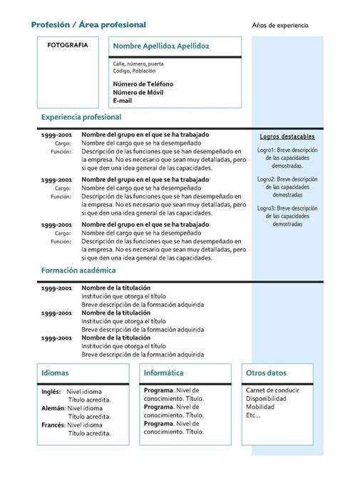 Plantilla De Curriculum Vitae En Espanol Plantillas De Curriculum Vitae Identi Newhairstylesformen2014