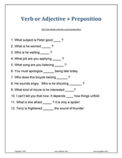 printable preposition quiz printable adjective exercises