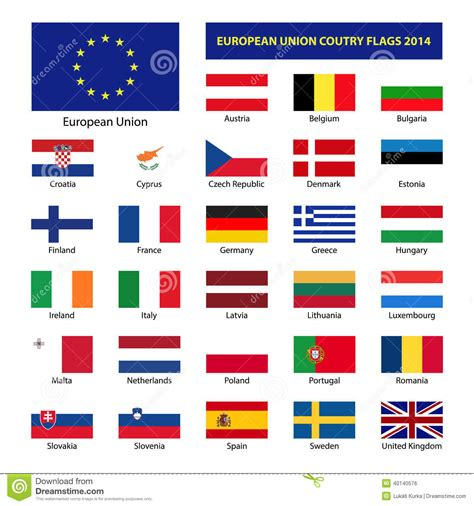 european union members european union country flags 2014 stock vector image
