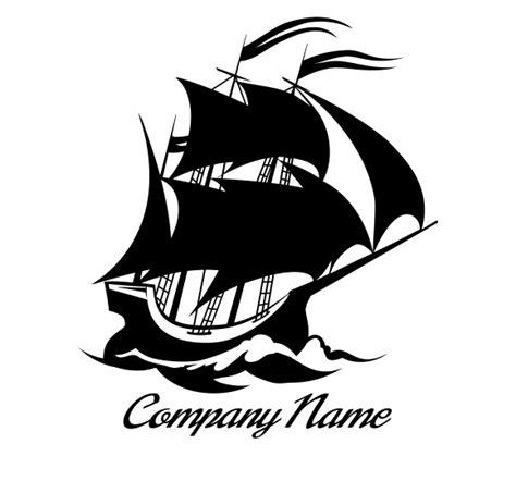 doodle jangkar logo with gold ship and sail and black background