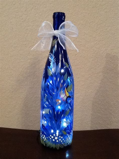 hand painted lighted bluebonnet wine bottle by