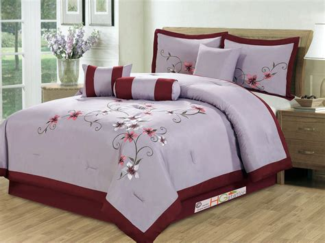 Maroon Comforter Set by 11 Pc Periwrinkle Floral Embroidery Comforter Curtain Set