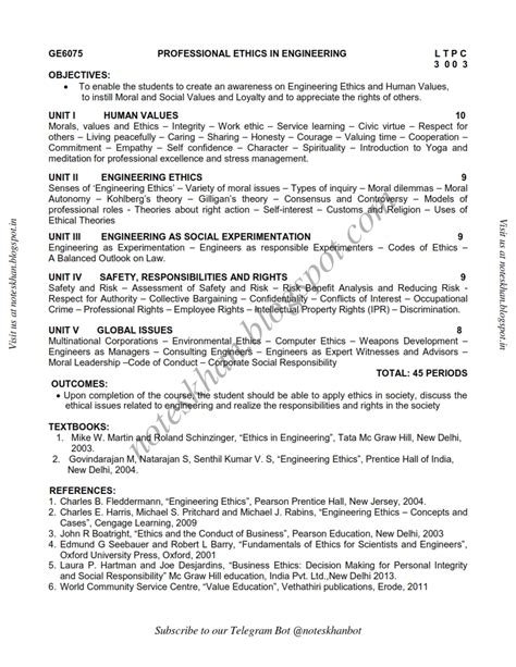 Mba Syllabus Regulation 2013 Affiliated College by Ge6075 Professional Ethics In Engineering Syllabus