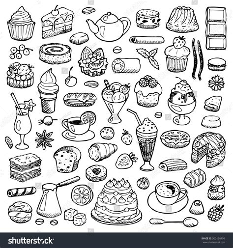 free vector doodle elements cafe set doodle elements vector illustration