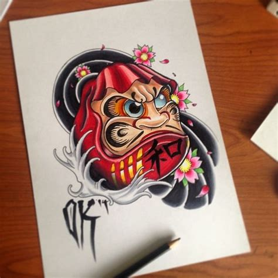 tattoo oriental daruma daruma tattoo newschool olliekeabledesigns